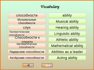 ability Musical ability Hearing ability Linguistic ability Athletic ability A