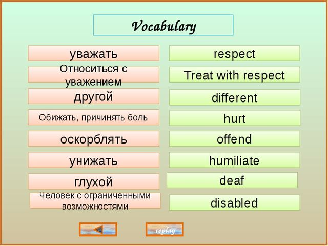 respect Treat with respect different hurt offend deaf humiliate disabled уваж...
