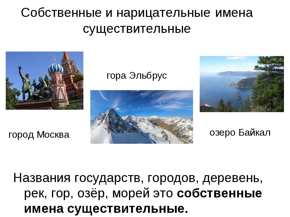 Собственные и нарицательные имена существительные Названия государств, городо...