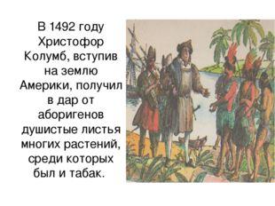 В 1492 году Христофор Колумб, вступив на землю Америки, получил в дар от абор
