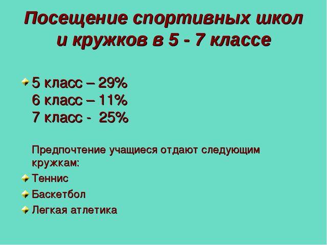 Посещение спортивных школ и кружков в 5 - 7 классе 5 класс – 29% 6 класс – 11...