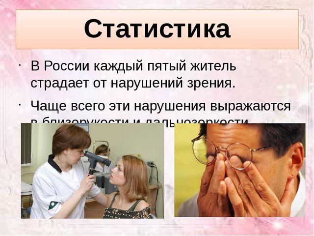 Статистика В России каждый пятый житель страдает от нарушений зрения. Чаще вс...