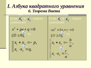 I. Азбука квадратного уравнения 6. Теорема Виета Если и - корни уравнения то