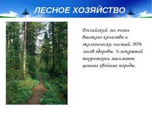 Российский лес очень высокого качества и экологически чистый. 90% лесов здоро