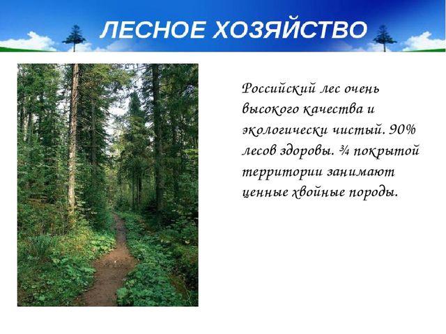 Российский лес очень высокого качества и экологически чистый. 90% лесов здоро...