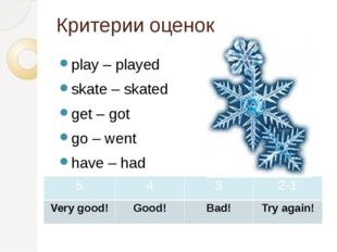 Критерии оценок play – played skate – skated get – got go – went have – had 5