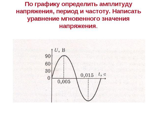 По графику определить амплитуду напряжения, период и частоту. Написать уравне...