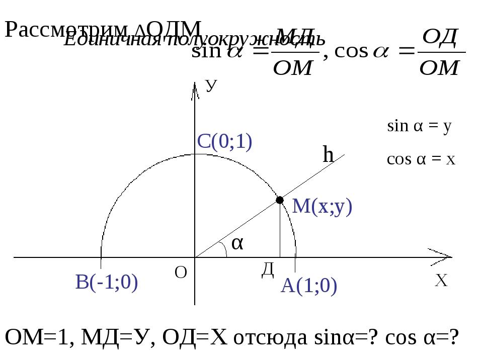 Х У О А(1;0) В(-1;0) С(0;1) Единичная полуокружность h М(х;у) α Д Рассмотрим...