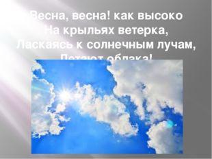 Весна, весна! как высоко На крыльях ветерка, Ласкаясь к солнечным лучам, Лета