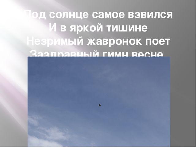Под солнце самое взвился И в яркой тишине Незримый жавронок поет Заздравный г...