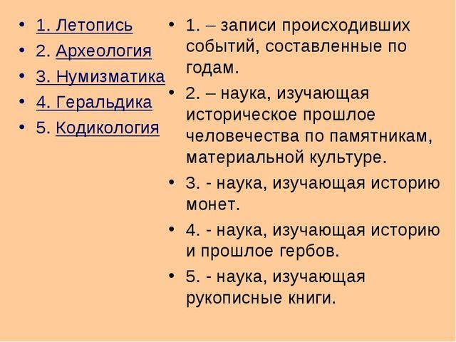 1. Летопись 2. Археология 3. Нумизматика 4. Геральдика 5. Кодикология 1. – за...