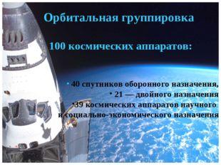 Орбитальная группировка 100 космических аппаратов: 40 спутников оборонного на