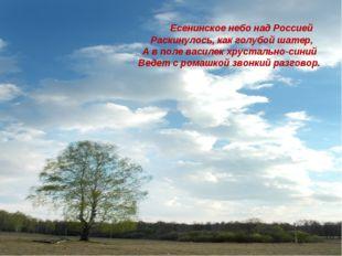 Есенинское небо над Россией Раскинулось, как голубой шатер, А в поле василек
