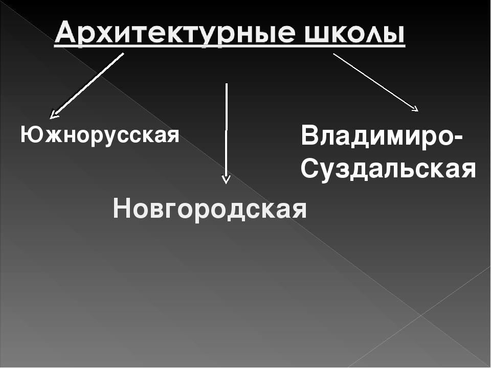 Южнорусская Новгородская Владимиро- Суздальская