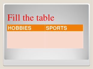 Fill the table HOBBIESSPORTS