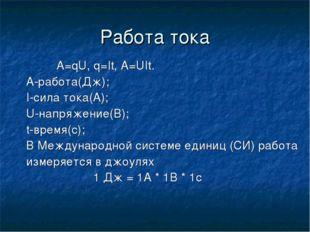 Работа тока A=qU, q=It, A=UIt. А-работа(Дж); I-сила тока(А); U-напряжение(В);