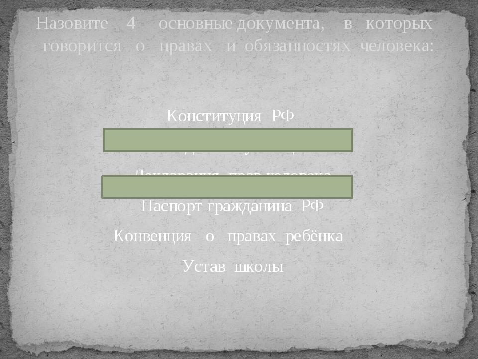 Конституция РФ Личное дело обучающегося Декларация прав человека Паспорт граж...