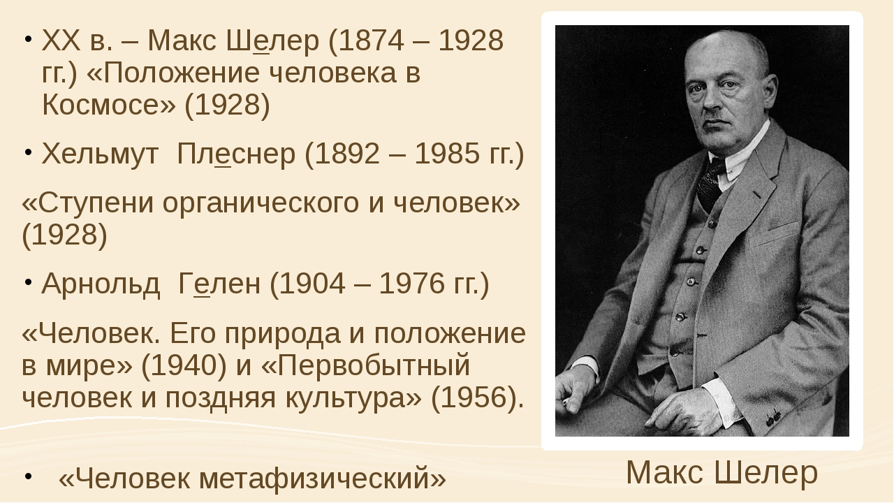 XX в. – Макс Шелер (1874 – 1928 гг.) «Положение человека в Космосе» (1928) Хе...