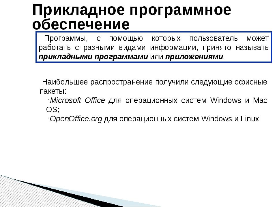 Прикладное программное обеспечение Программы, с помощью которых пользователь...