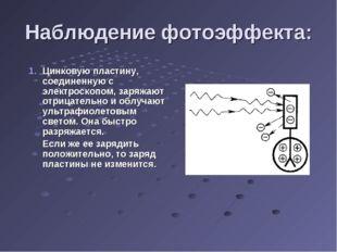 Наблюдение фотоэффекта: Цинковую пластину, соединенную с электроскопом, заряж