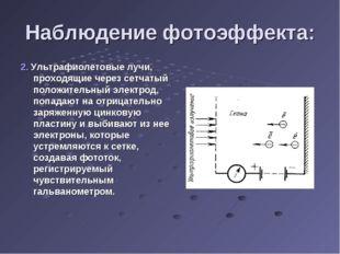 Наблюдение фотоэффекта: 2. Ультрафиолетовые лучи, проходящие через сетчатый п