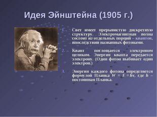 Идея Эйнштейна (1905 г.) Свет имеет прерывистую дискретную структуру. Электро