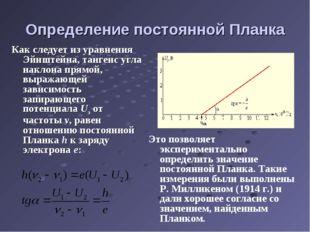 Определение постоянной Планка Как следует из уравнения Эйнштейна, тангенс угл