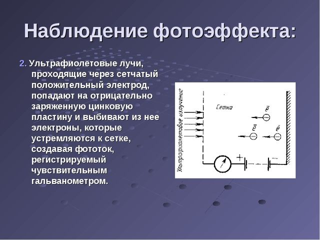 Наблюдение фотоэффекта: 2. Ультрафиолетовые лучи, проходящие через сетчатый п...