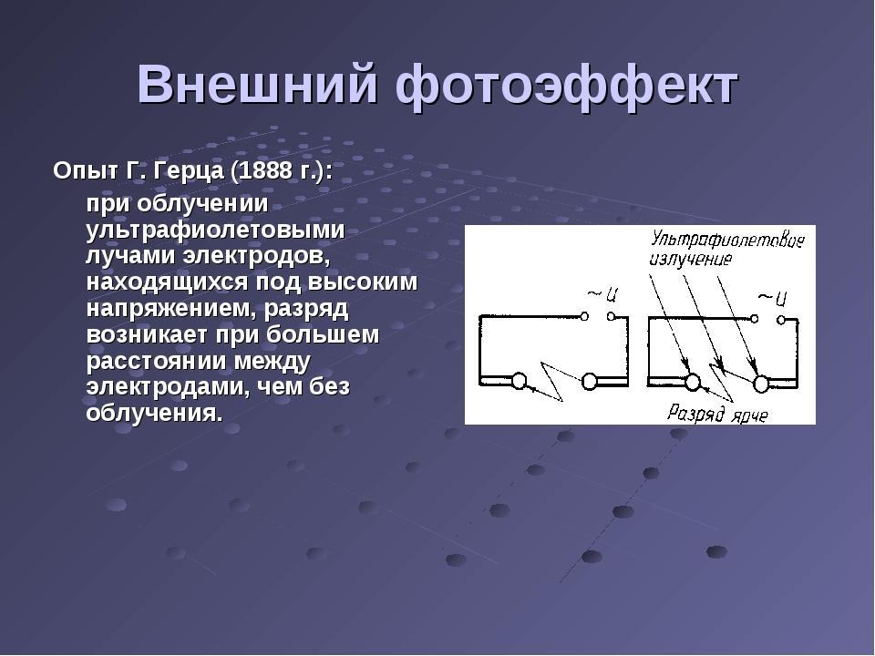 Внешний фотоэффект Опыт Г. Герца (1888 г.): при облучении ультрафиолетовыми...