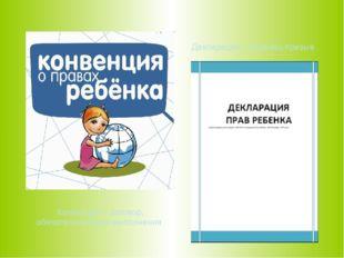 Декларация – образец-призыв Конвенция – договор, обязательный для выполнения