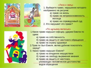 «Лиса и заяц» 1. Выберите право, нарушение которого изображено на рисунке: а)