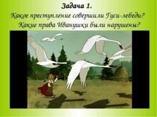Задача 1. Какое преступление совершили Гуси-лебеди? Какие права Иванушки были