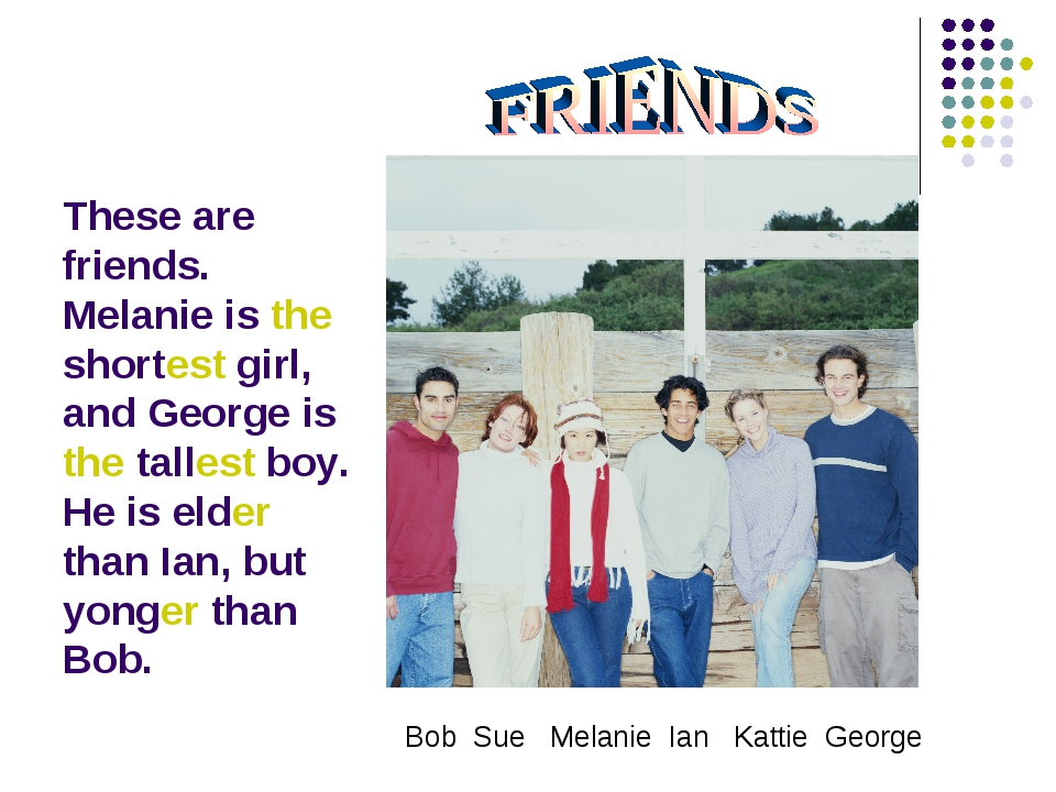 These are friends. Melanie is the shortest girl, and George is the tallest bo...