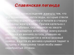Славянская легенда объясняет происхождениежемчуга тем, что это окаменевшие к