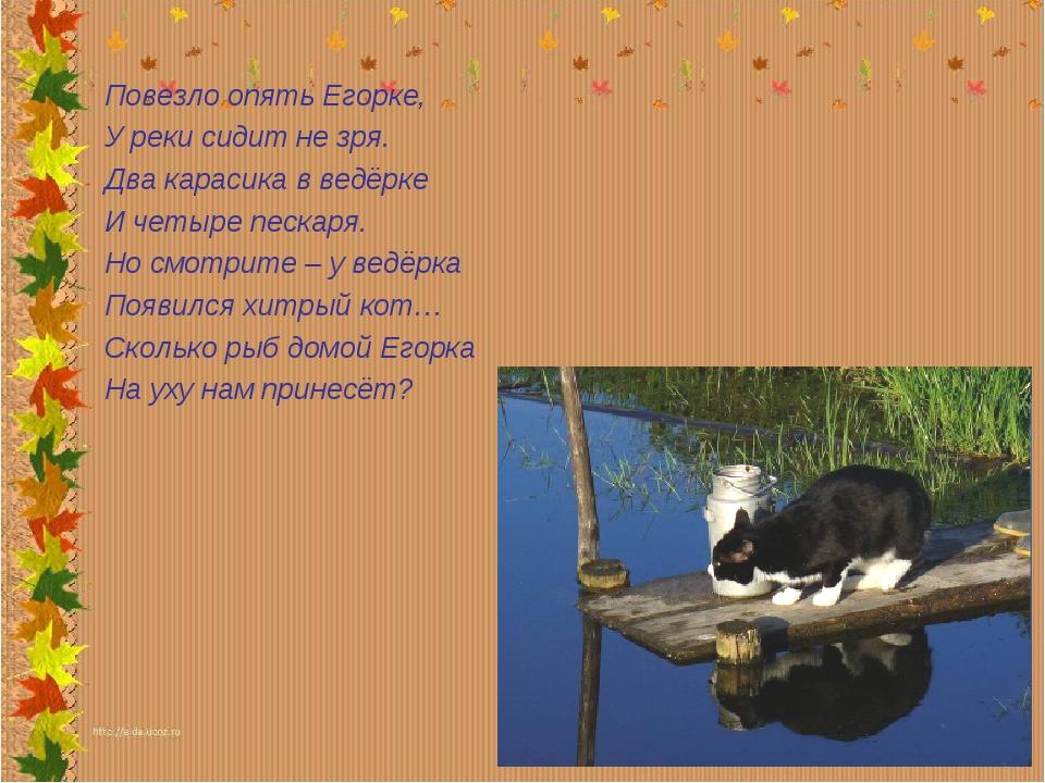 Повезло опять Егорке, У реки сидит не зря. Два карасика в ведёрке И четыре пе...