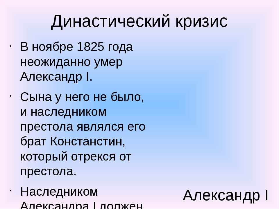Династический кризис В ноябре 1825 года неожиданно умер Александр I. Сына у н...