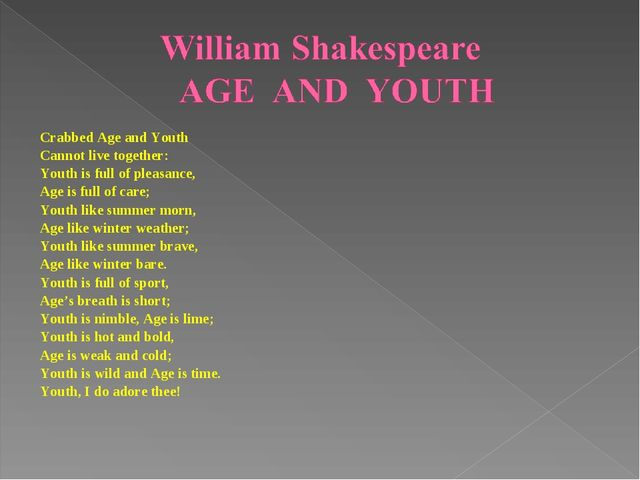 Crabbed Age and Youth Cannot live together: Youth is full of pleasance, Age i...