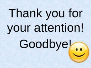 Thank you for your attention! Goodbye!