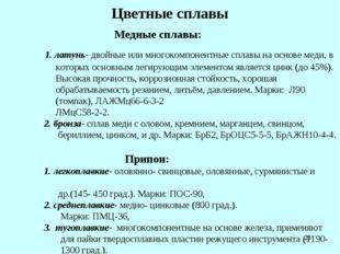 * Цветные сплавы Медные сплавы: 1. латунь- двойные или многокомпонентные спла