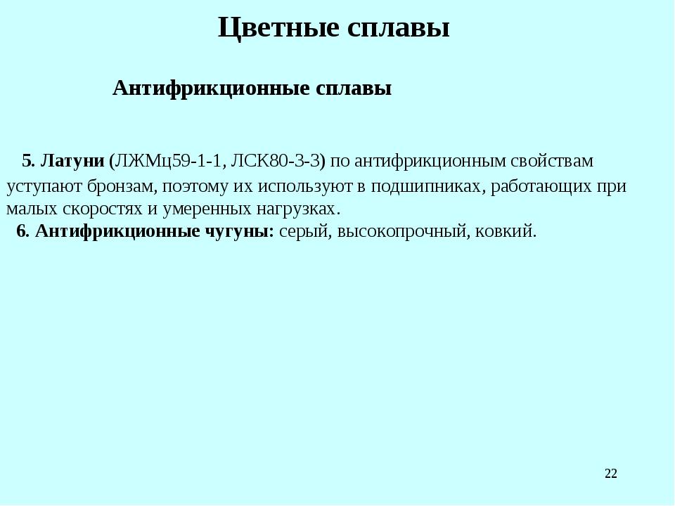* Цветные сплавы Антифрикционные сплавы 5. Латуни (ЛЖМц59-1-1, ЛСК80-3-3) по...