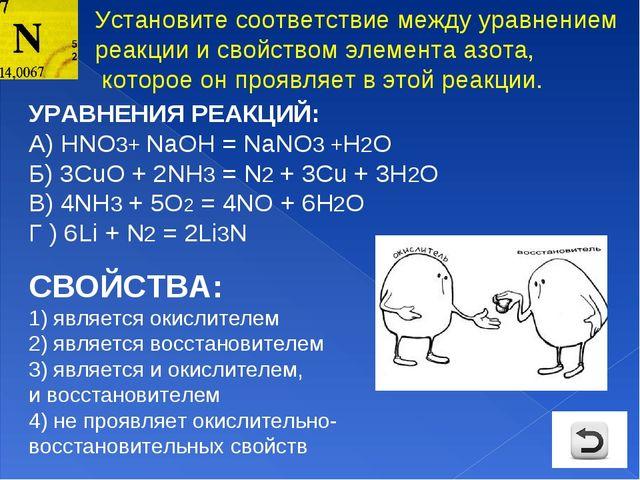 УРАВНЕНИЯ РЕАКЦИЙ: А) НNO3+ NaOH = NaNO3 +H2O Б) 3СuO + 2NH3 = N2 + 3Cu + 3H2...