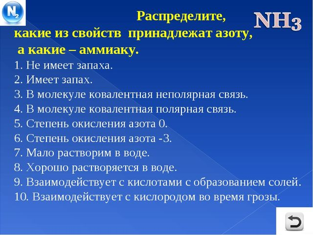 Распределите, какие из свойств принадлежат азоту, а какие – аммиаку. 1. Не и...