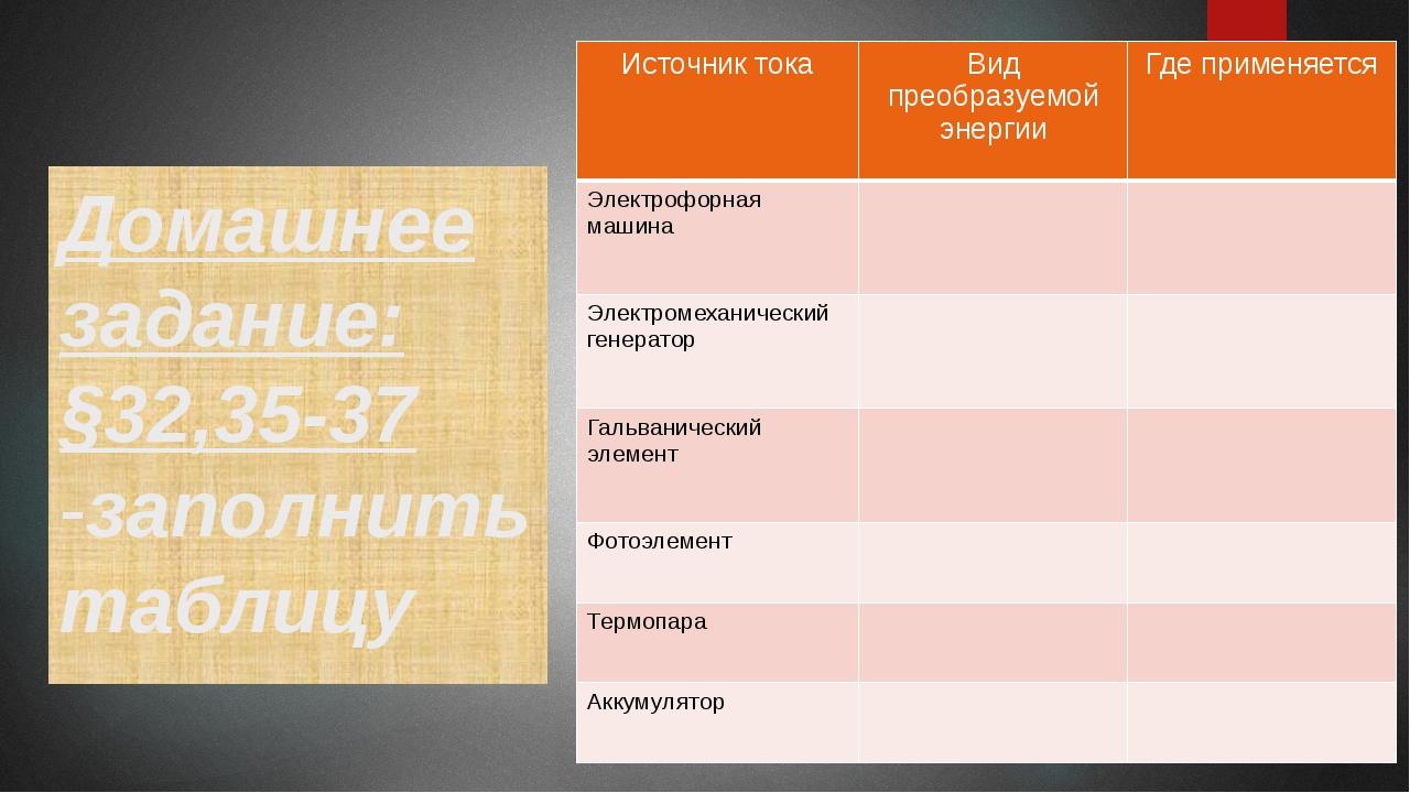 Домашнее задание: §32,35-37 -заполнить таблицу Источник тока Вид преобразуемо...