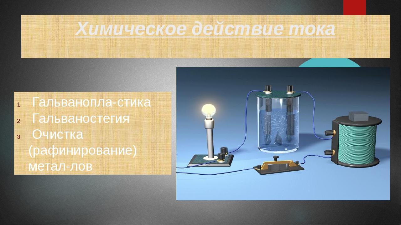 Химическое действие тока Гальванопластика Гальваностегия Очистка (рафинирова...