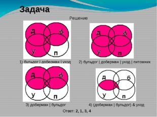 Задача 4) (доберман | бульдог) & уход 2) бульдог | доберман | уход | питомник