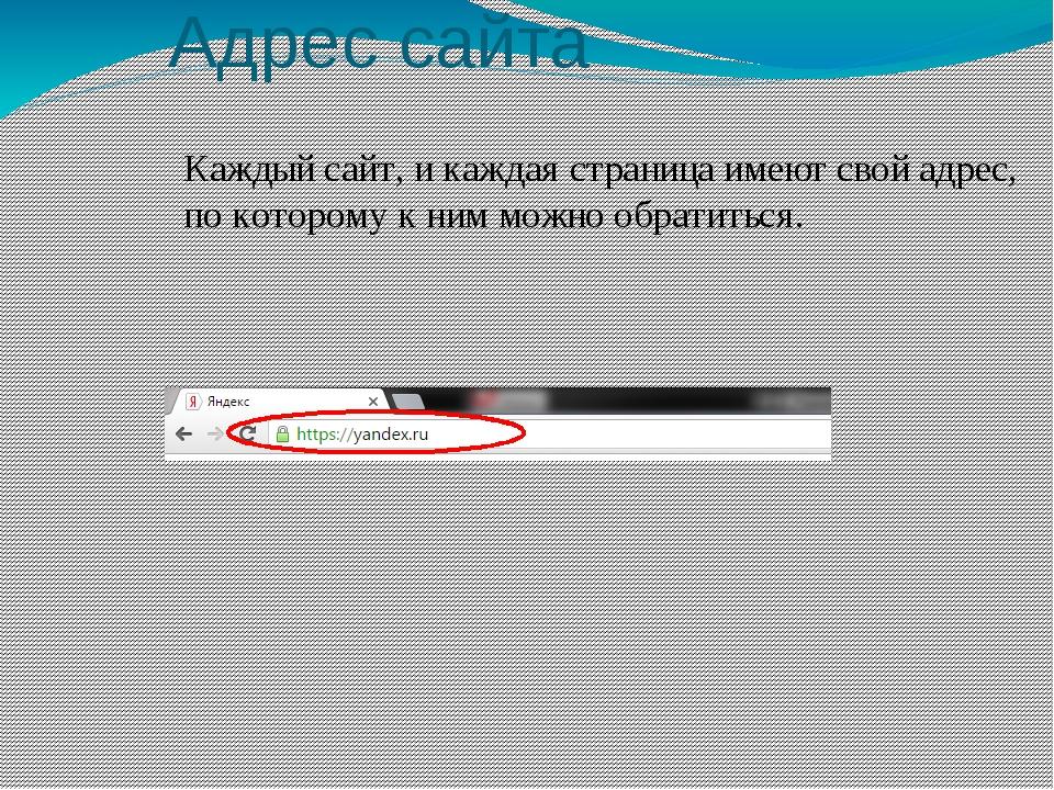 Адрес сайта Каждый сайт, и каждая страница имеют свой адрес, по которому к ни...