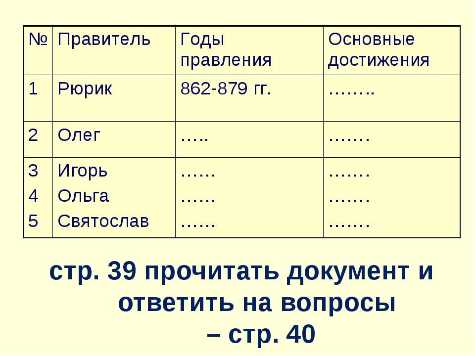 стр. 39 прочитать документ и ответить на вопросы – стр. 40 №ПравительГоды п...