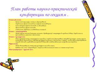 План работы научно-практической конференции по секциям . Ученые-филологи. Фра