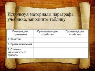 Используя материалы параграфа учебника, заполните таблицу Позиции для сравнен
