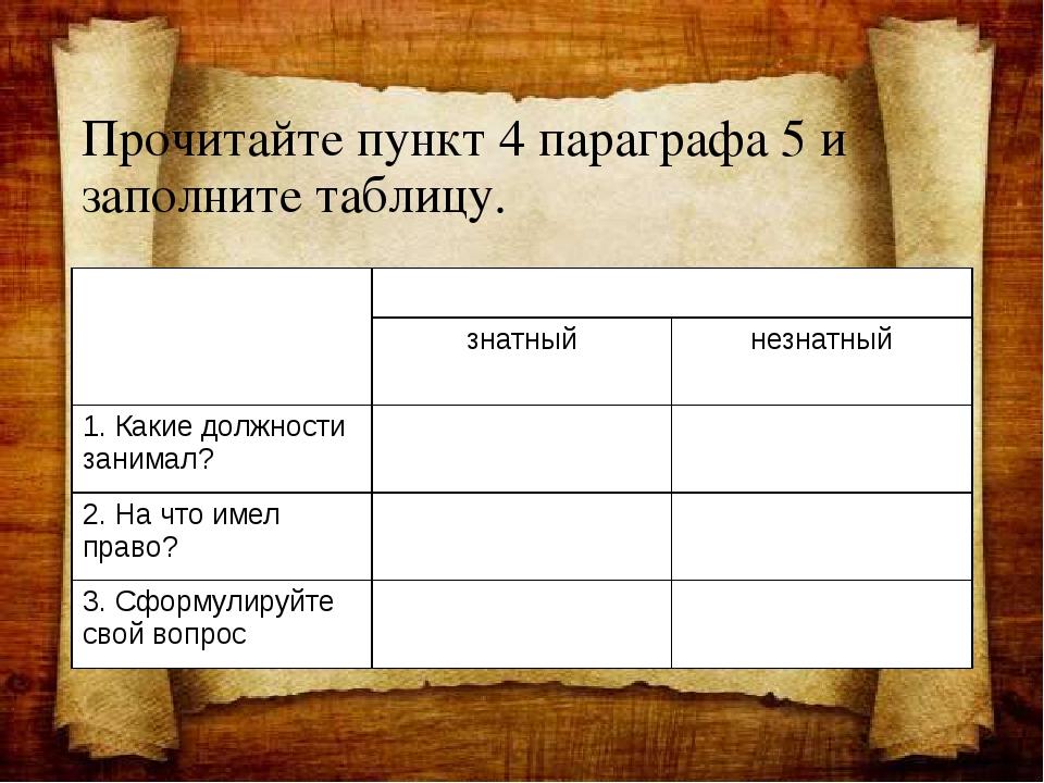 Прочитайте пункт 4 параграфа 5 и заполните таблицу. Вопросы для сравнения Пол...